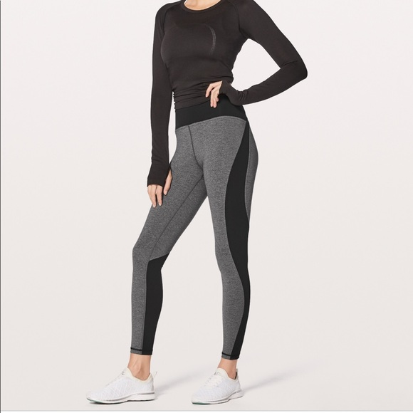 lululemon athletica Pants - Lululemon Train Times 7/8 Blocked Grey Black